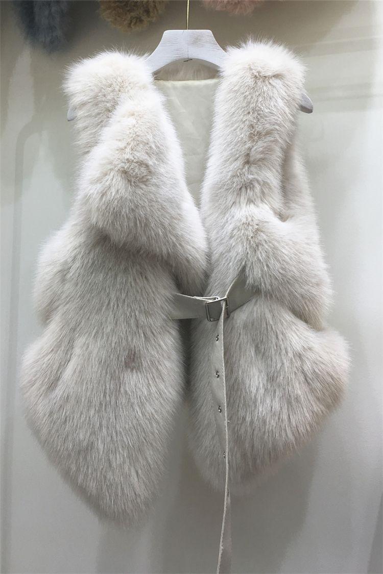الفراء الفاخرة فو الثعلب 2020 تصميم جديد للمرأة مصححة PU الزنانير الجلود سترة قصيرة CIAT بلا أكمام الخصر النحيف casacos