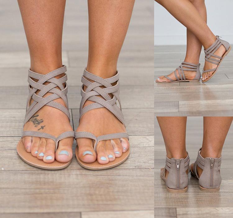 Sandalias de moda para mujer Zapatos de verano Sandalias planas para mujer Estilo de Roma Sandalias atadas en cruz Zapatos 43