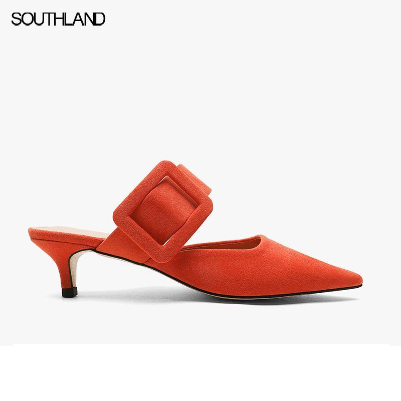 SOUTHLAND 2020 Novo Estilo Verão Slides Mulheres Baixo Salto Alto mulas Salto Casual Chinelos sapatas sexy