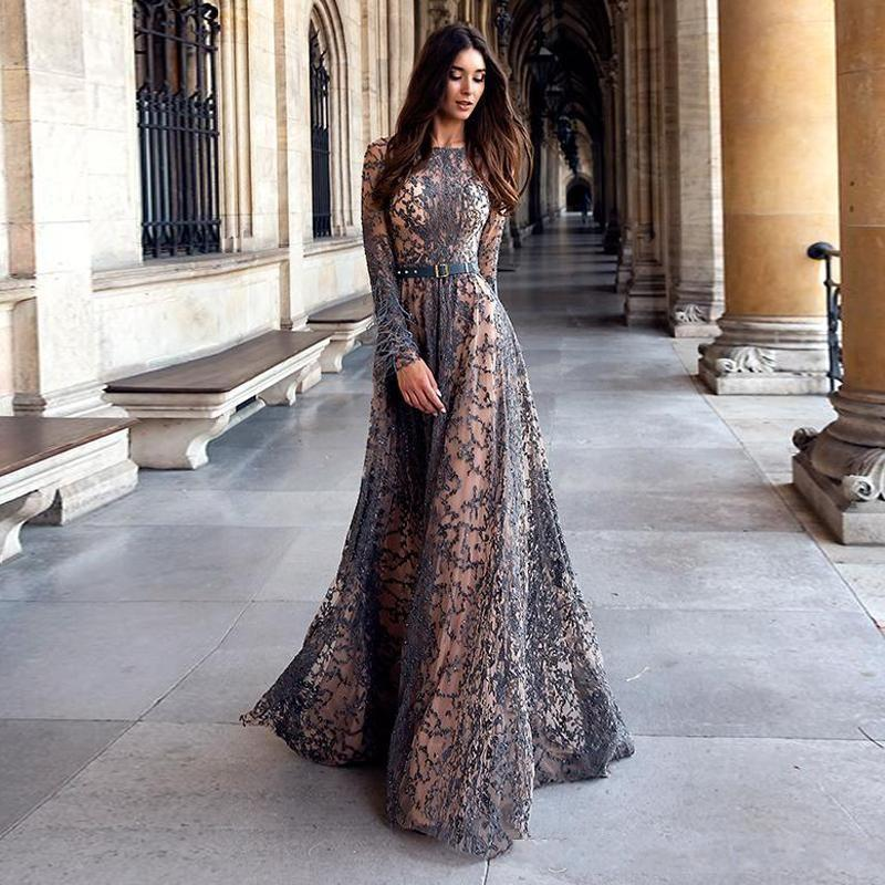 Luxury Beads Lace Evening Dresses 2020 Baeau Neck Long Sleeves with Feathers Prom Dress Floor Length Special Occasion Formal Party Gowns