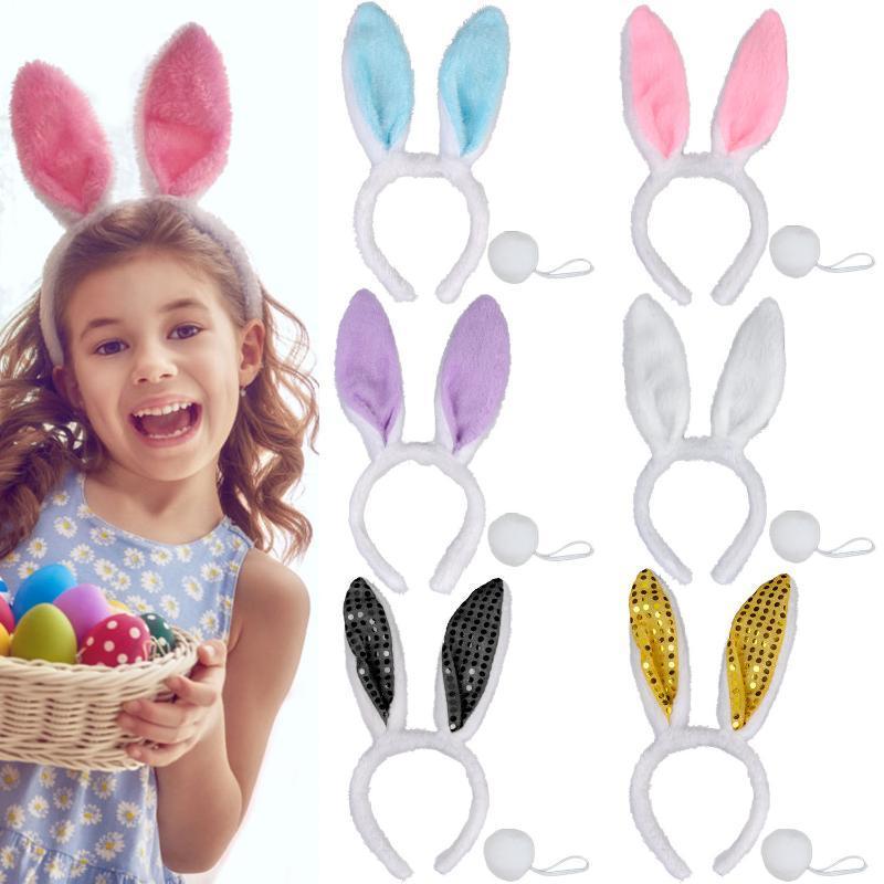 6PCS femmes fille oreilles en peluche Bandeau Bow Tie Tail Cosplay Pâques Costume Set Party Hoop cheveux