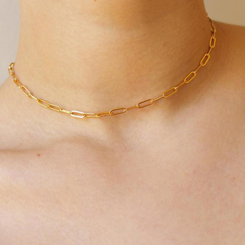 14K الذهب مطلي المرأة قلادة بسيطة الذهب نمط بنات المختنق ليلة نادي الحزب عظم الترقوة سلسلة للسيدات
