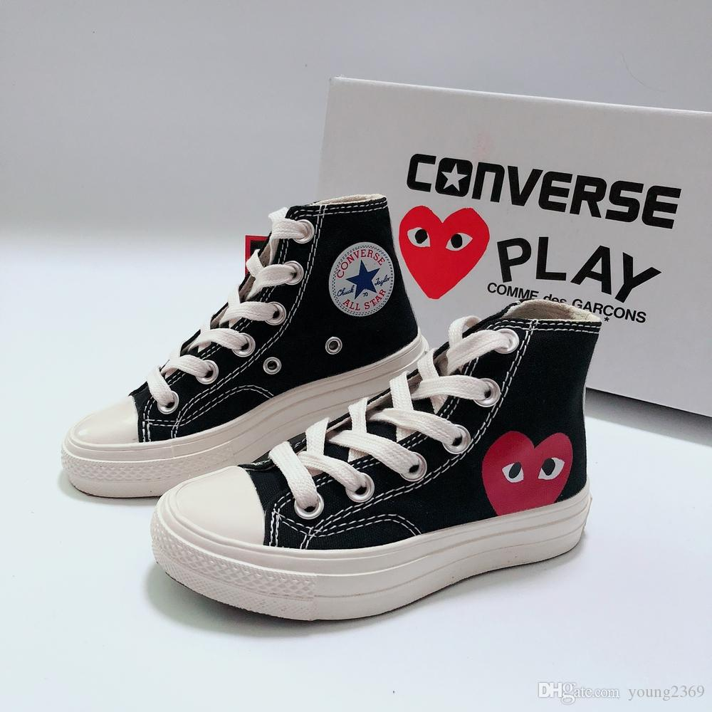 Converse converses shoes Niños CDG Jugar Star Chuck diseñador niños grandes zapatos de baloncesto de los niños muchachas muchacho joven CDGs Todos los niños pequeños las