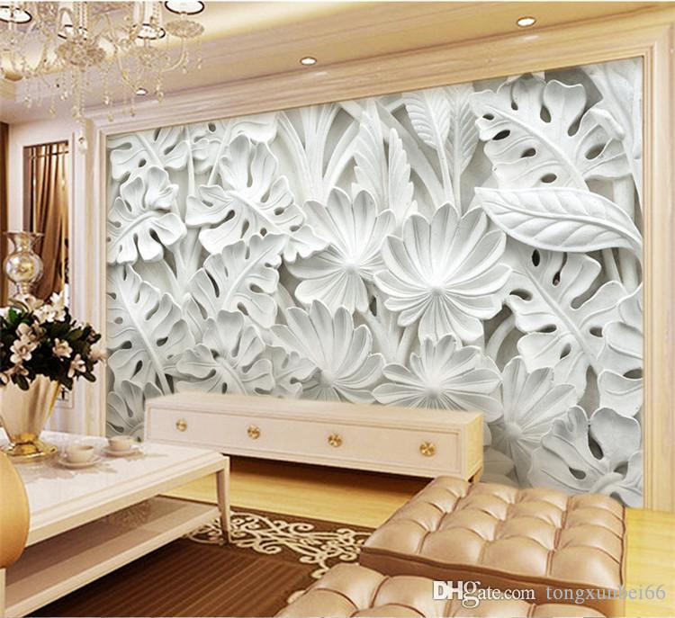 3D Photo Moderne Simple Art abstrait Fond d'écran 3D Relief Feuilles blanc Motif Gypse Peinture murale Salon TV Canapé Backdrop mur Home Decor 3D