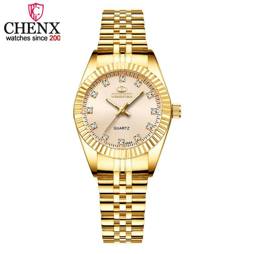Chenxi marca menina relógio mulheres moda casual quartzo relógios senhoras gloden aço inoxidável presentes femininos relógio relógio de pulso