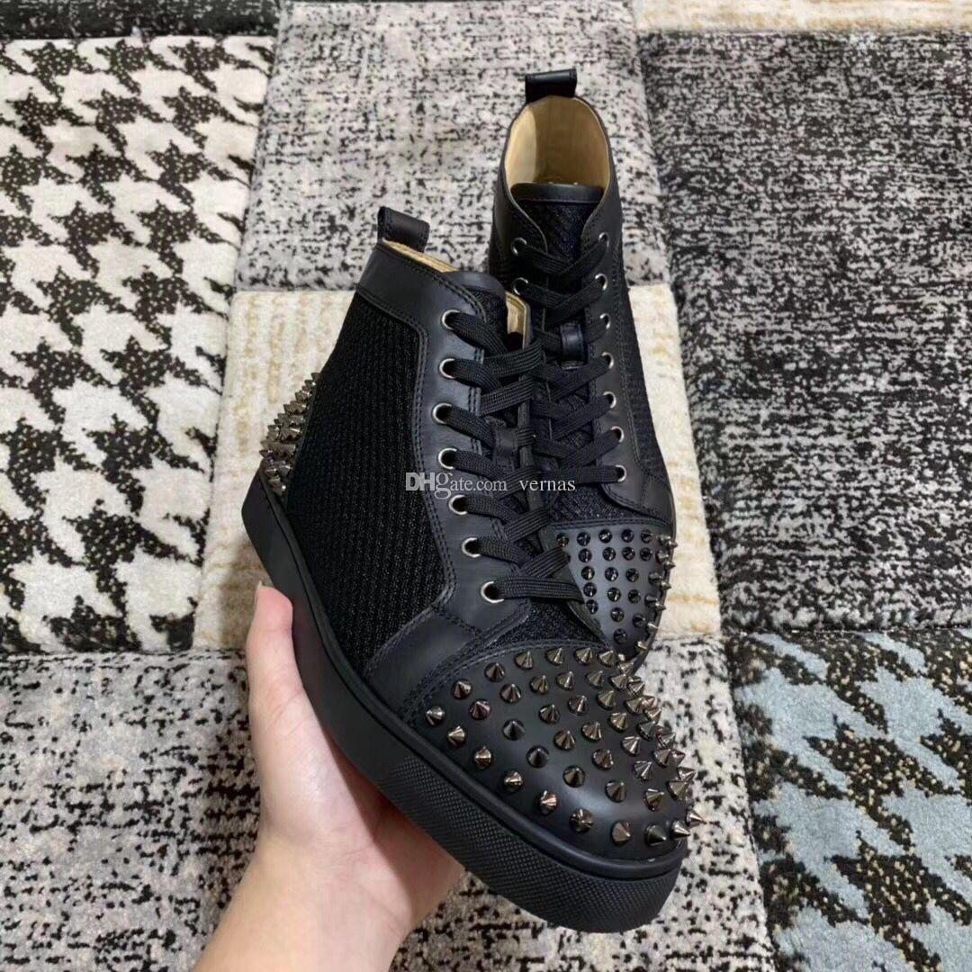 Rojo clásico zapatillas de deporte zapatos inferiores Hombres, Mujeres al aire libre formadores de lujo de monopatín del top del alto Spikes que caminan ocasionales de compras en línea