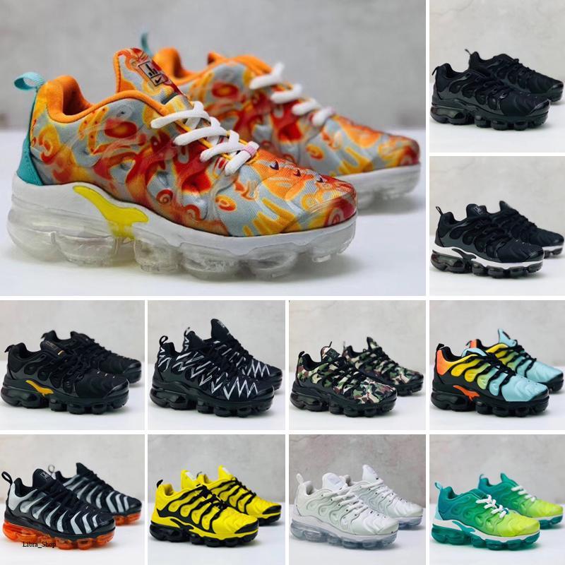 Nike Air TN Plus 2020 yeni TN artı Ultra Tuned hava Yastık Trainer Çocuk Koşu ayakkabıları erkek kız gençlik çocuk spor Sneaker boyutu 28-35