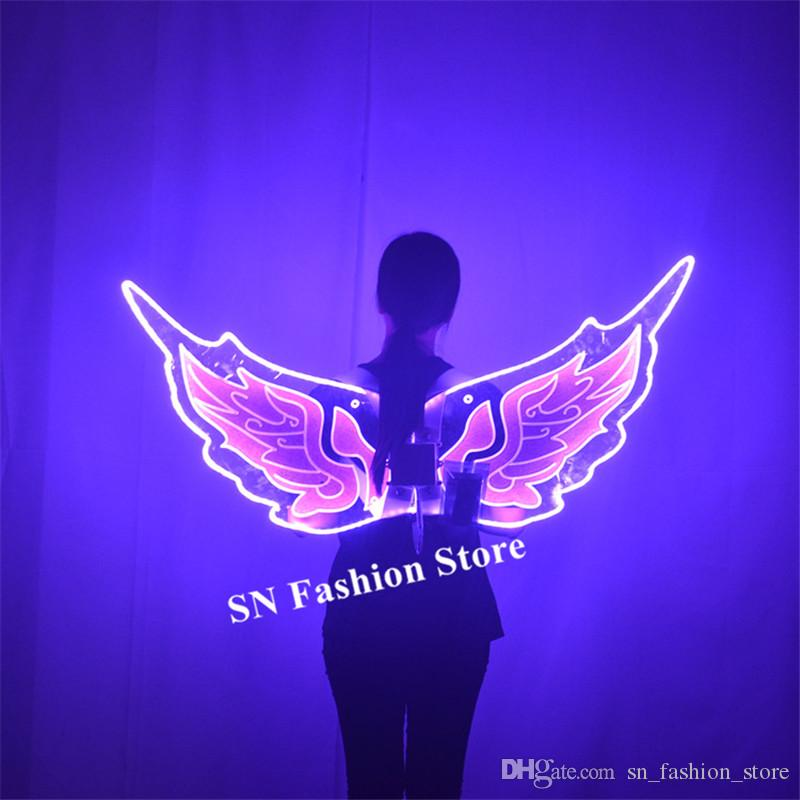 P02 Club model perform wears led light wings RGB colorful butterfly backplane dj luminous led costumes stage dance wings party show wears dj