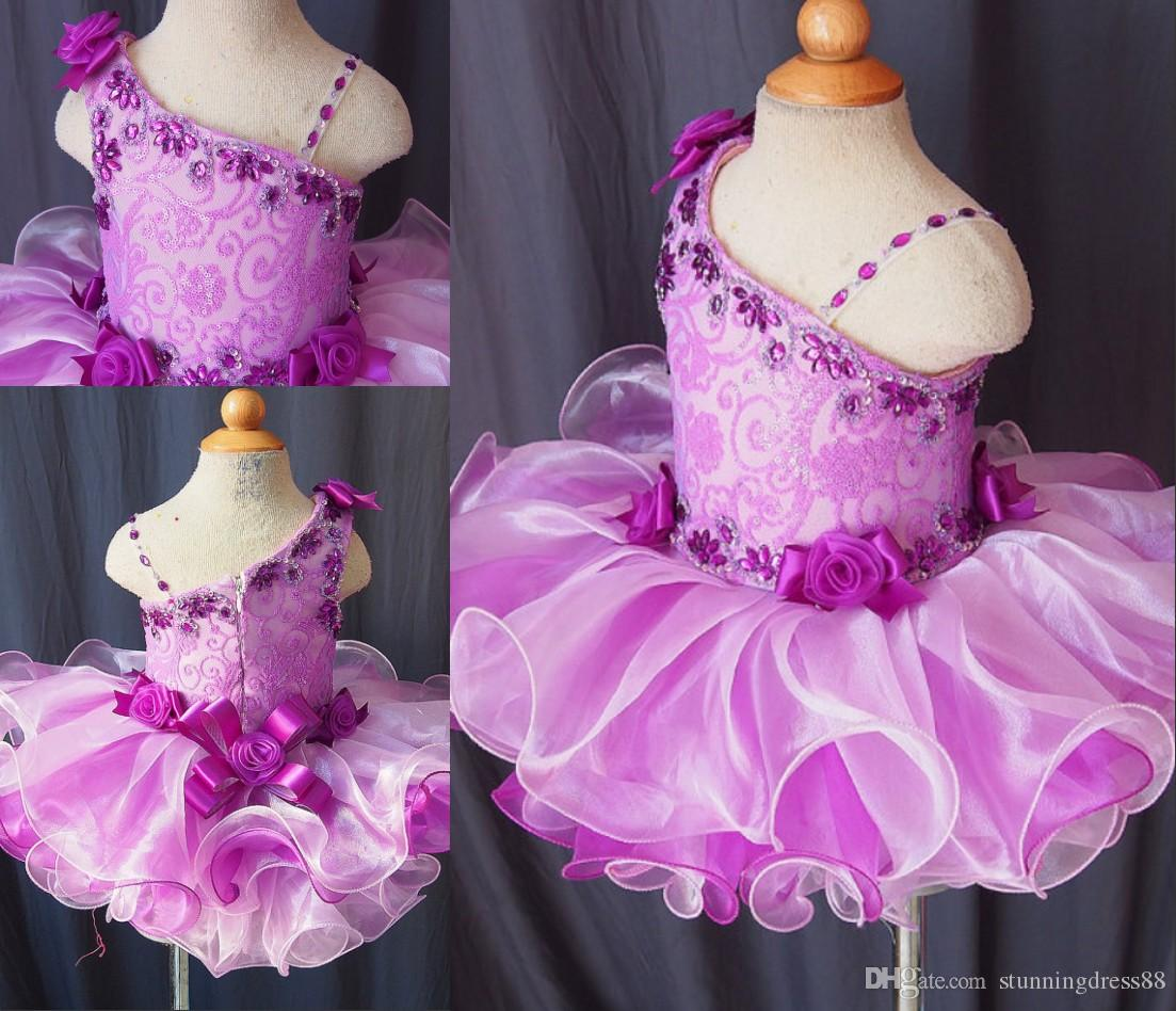 2021 Multi Purple Infant Toddler Girls Pageant Dresses with Straps Crystal Ruffles Short Organza Cheap Flower Girls First Communion Dress
