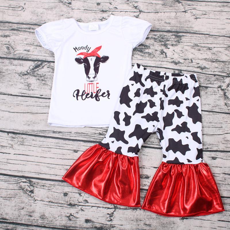 Recém atacado temperamental t-shirt vaca vitela menina e roupas de bebê curtas define algodão coreano bebe crianças roupas roupas Fornite Y200525