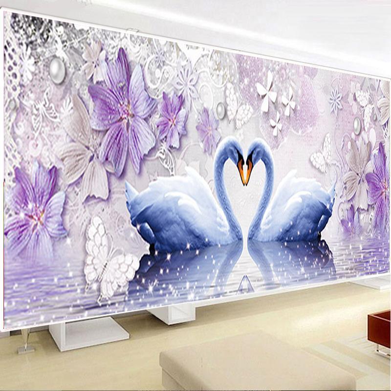 Diy 5d Eternal Love Painting Swan Round Diamond Mosaic Home Decor Diamonds Embroidery Wedding Q190528