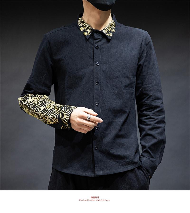 Style chinois Hommes Chemises Mode Slim brodé lambrissé manches longues pour hommes Chemises hommes Vêtements décontractés