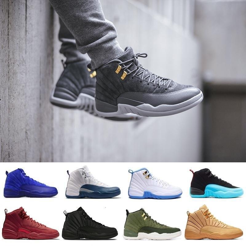 Zapatos de baloncesto 12 Hombres Mujeres 12s XII Juego de la gripe azul francés del aire El Maestro Gimnasio Rojo Taxi Milan NYC Vachetta Tan Winterized J12 zapatillas retro