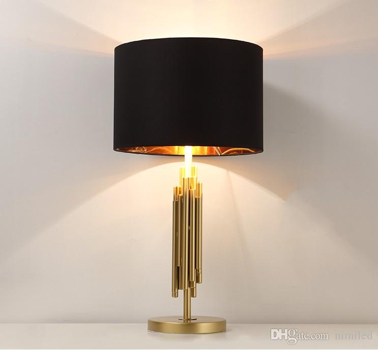 Luxury Besides Lamps Brush Gold Table Lamps Office Living Room Study Table Light Modern Art Classic Fabric Table Lamp LLFA