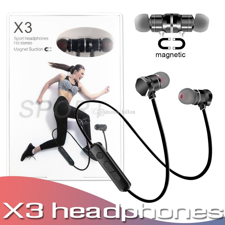 X3 Sport Bluetooth Headphones Wireless Earphones Magnetic Suction Stereo Headset With Mic Earbuds Handsfree In Ear With Box Cell Phone Earbuds Cell Phone Headsets From Hillon 5 8 Dhgate Com