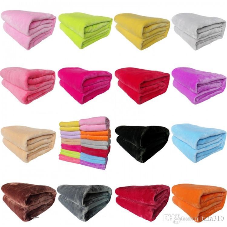 50 * 70 cm chaud flanelle polaire serviette couvertures Pur Couleur épaissie corail en peluche couverture D'hiver canapé doux En Peluche Couverture T9I00232