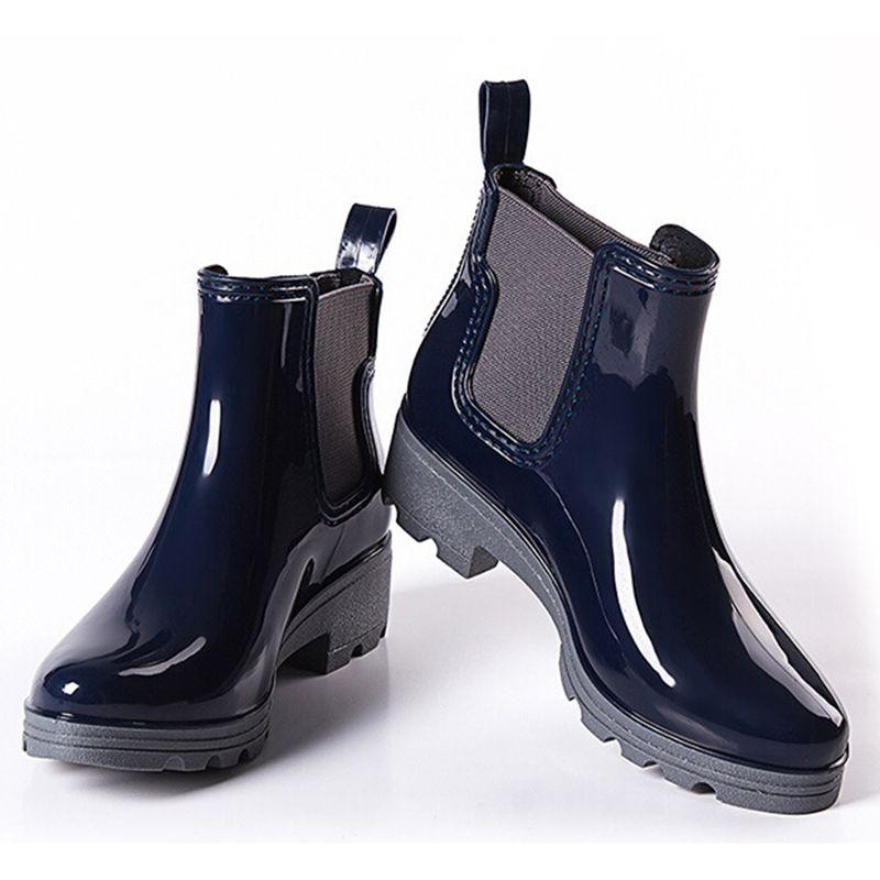 منصة أحذية المطر السيدات المطاط الكاحل rainboots منخفضة الكعب النساء الانزلاق على مضخات حذاء امرأة زائد الحجم 36-41 XWX3577