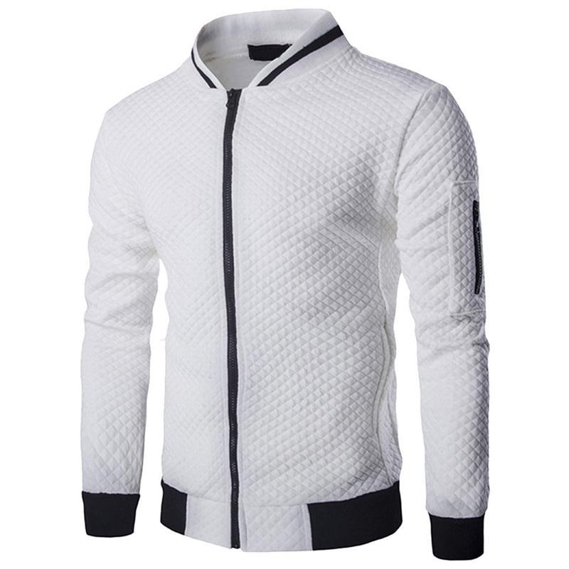 당나라 2019 년 가을 새로운 트렌드 화이트 패션 남성 자켓 의류 남자의 베스트 옴므 폭격기 맞추기 아가일 지퍼 자켓 캐주얼 자켓