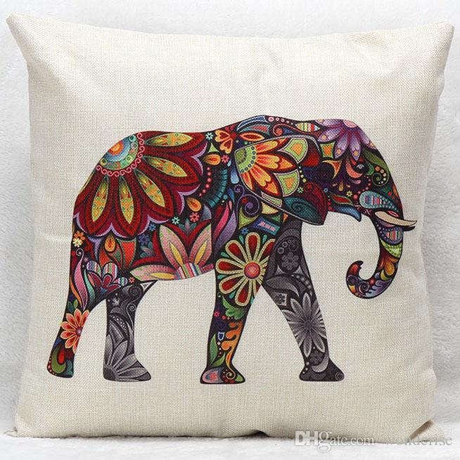 الهندي الشعبية العرقية الحيوان الفيل وسادة تغطي ديكور المنزل وسادة غطاء الكتان وسادة القضية لغرفة النوم أريكة الأريكة