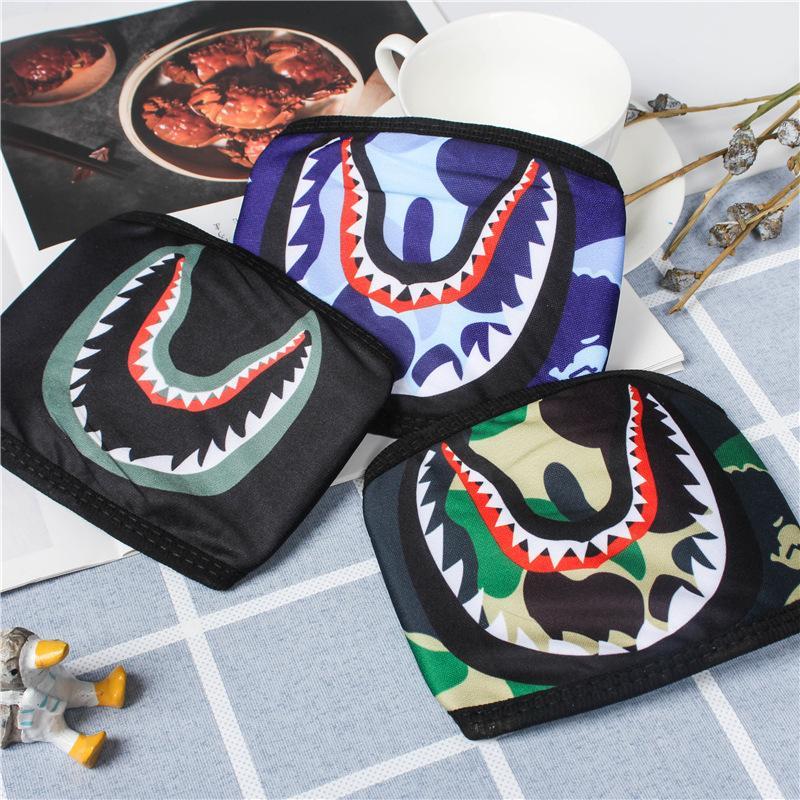 Máscaras Máscara Tiburón camuflaje hombre mono de Hip Hop de moda de la media cara de la boca de la máscara máscaras del partido al aire libre 7 colores