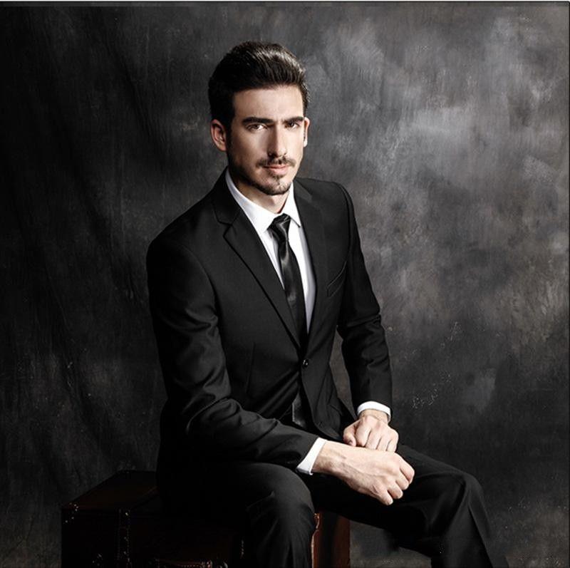 Handsome Black Gentle Costume Business Man Smart Casual Slim Fit Men Suits Custom Made Plus Size Wedding Suits Part 2Pieces Jacket+Pants 967