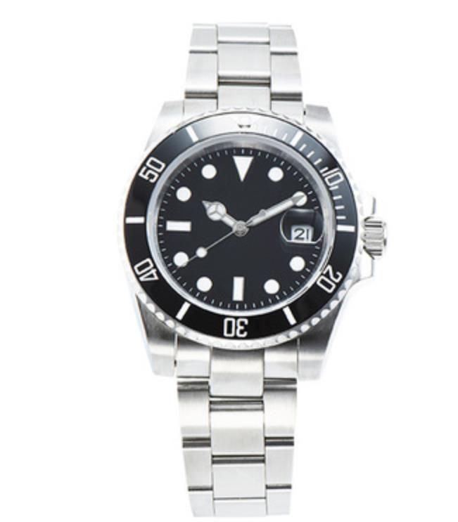 40 мм мужские часы мода черный циферблат с календарем брекет складной зажима мастера мужские мужские часы
