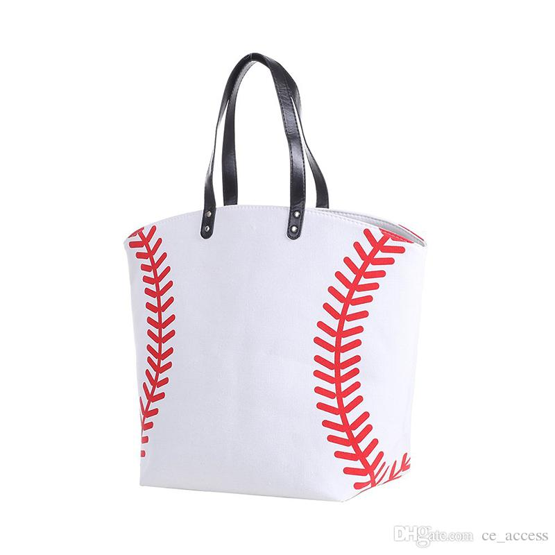 Baseball Canvas Tote Bag, White w Red Seams, Best baseball mom bag purse