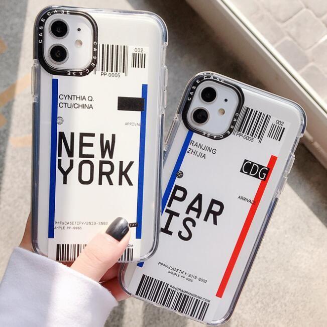 2020 1pcs teléfono de la manera para el iPhone 7 8 Xr Xs 11Pro Max Plus Marca Tide Inglés Cubierta Mujer Todo Incluido Soft Shell