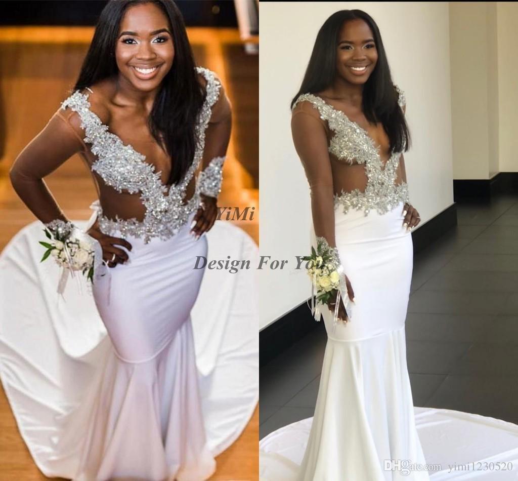 Sexy See Through Sereia Vestidos de Noite de Manga Longa V Pescoço Apliques Beads Africano Formal Prom Party Vestidos Ocasião Especial Vestido 2019