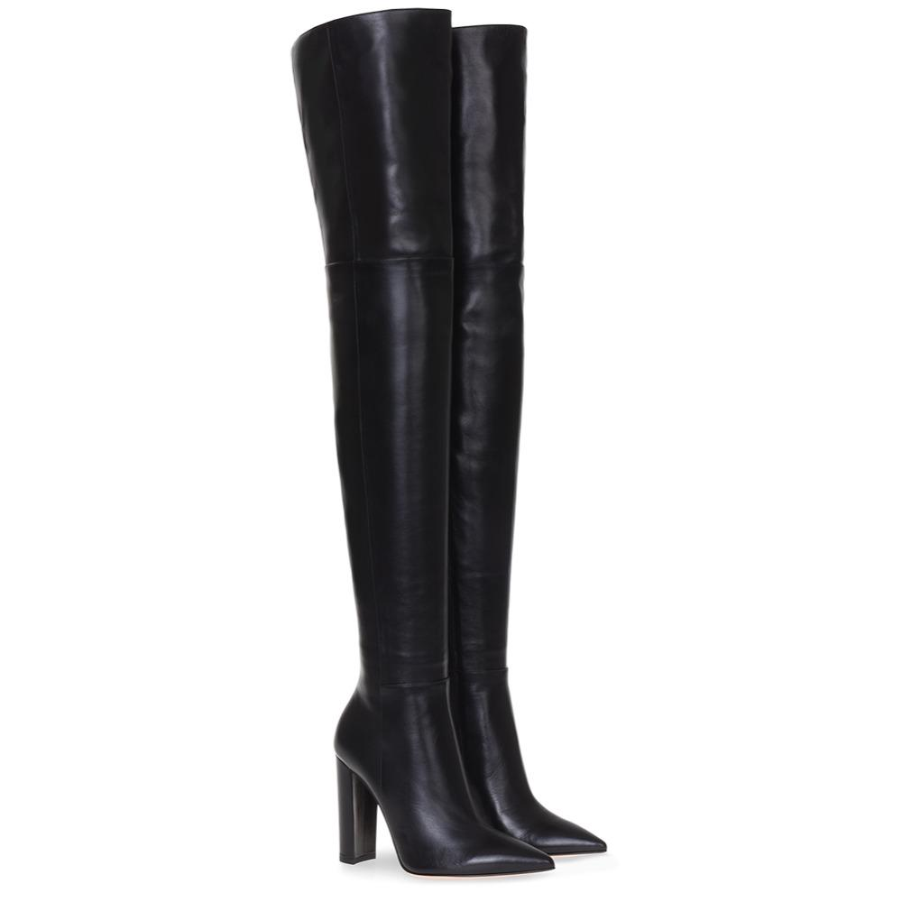 Mode über das Knie Frau Stiefel Nude Leder dicke High Heels Oberschenkel Frau Stiefel schwarz Nachtclub Kleid Schuhe große Größe 34-45