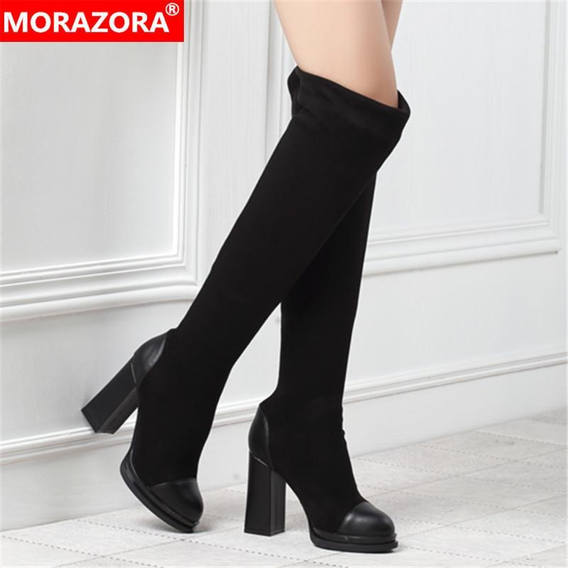 MORAZORA 2020 New Arrival Over The Knee Boots Women Flock Slip on High Heels Platform Boots Simple Autumn Party Prom Shoes