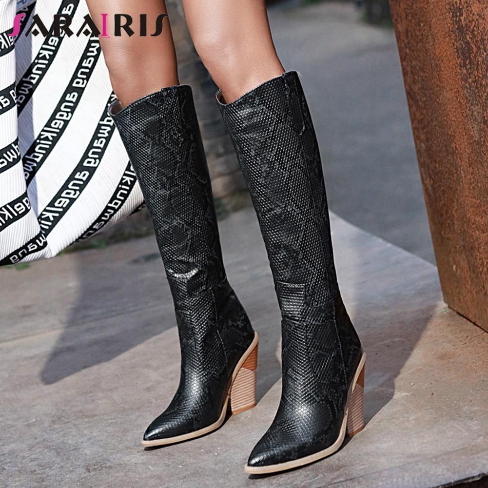SARAIRIS Festa Moda de Nova Ladies ocidental Botas Mulheres botas de salto alto Pointed Toe joelho sapatos altos Mulher