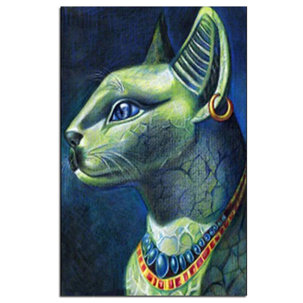Großhandel Diamant Malerei Ägyptische Katze Bild zum Tier Diamant Mosaik Kreuzstich Handarbeit Handwerk Bohrer Tuch Bild Dekoration