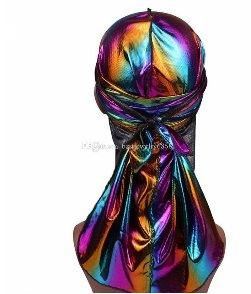 Men/Women Silk Laser Polyester Bandana Hat Durag do doo Rag Tail Headwrap Headwear Gift