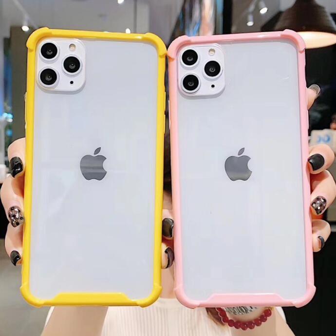 La caja del teléfono 100pcs acrílico de dos colores transparente Four Corners gota a prueba para Iphone 6S 7 8 Xr Xs 11 Caja protectora Plus Max Pro