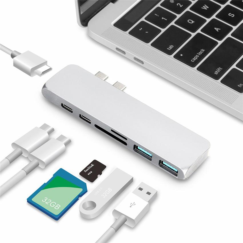 Двойные порты USB C Type-C HUB до 4K HDMI адаптер Thunderbolt 3 Dual USB 3.1 Data Type-C-концентратор TF SD PD адаптер для MacBook Pro Air 13 2018