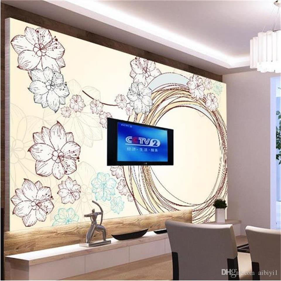 custom size 3d photo wallpaper living room mural Flowers line circle Marble 3d picture sofa TV backdrop wallpaper non-woven wall sticker