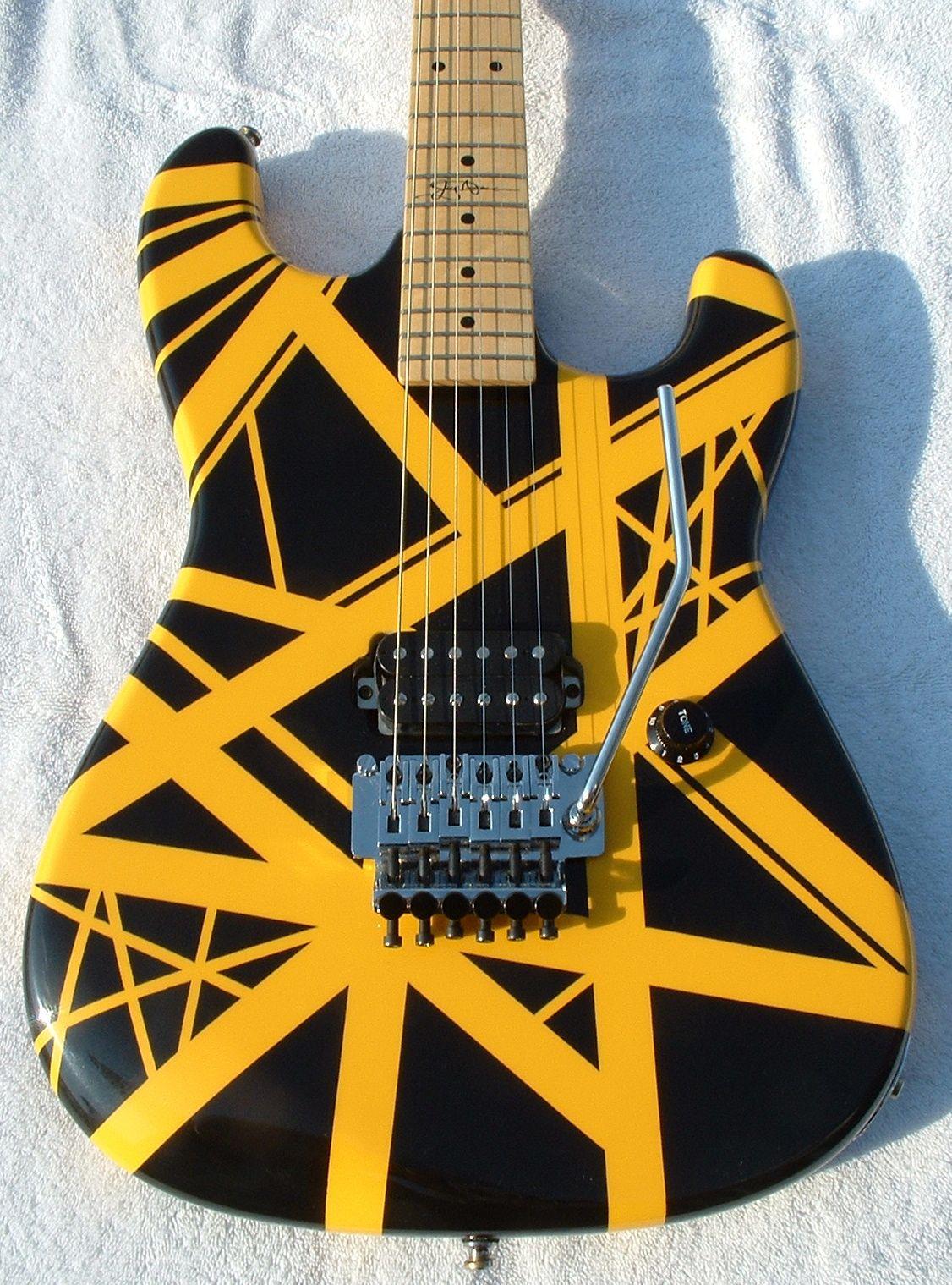 Personalizzato Kramer Lupo Edward Van Halen 5150 chitarra elettrica striscia gialla Nero Floyd Rose Tremolo Bridge, manico in acero Tastiera