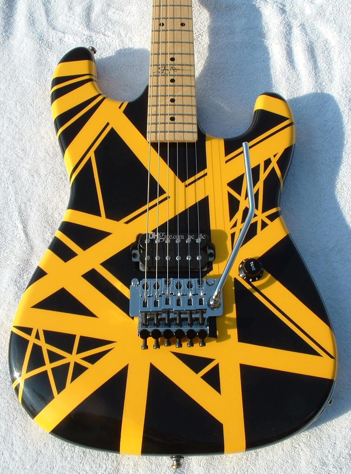 Custom Kra Wolf Edward Van Halen 5150 Yellow Stripe Black Electric Guitar Floyd Rose Tremolo Bridge, Maple Neck & Fingerboard