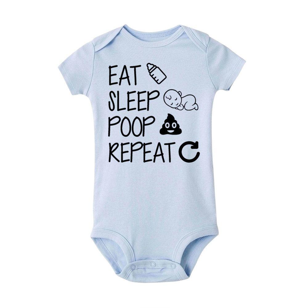 Ешьте сна Полуют Repeat Младенец Новорожденных ползунки лето малышей Baby Boy девушка хлопок Смешные Письмо Romper Комбинезон Одежда