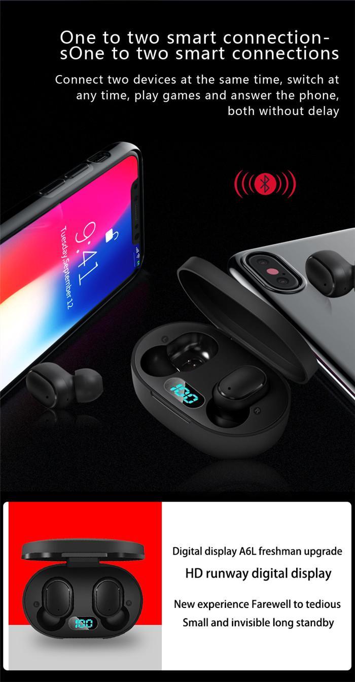 A6L TWS Bluetooth 5.0 sans fil LED Affichage automatique Oreillettes Pairing étanche Appel HD écouteurs anti-bruit sans fil