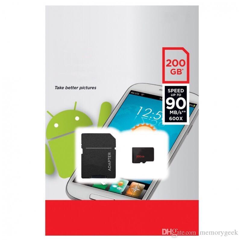2020 La migliore vendita Ultra A1 256 GB 200 GB 128 GB 64 GB 32 GB 100 MB / s UHS-I C10 Pacchetto versione bianca Scheda di memoria TF con adattatore SD gratuito