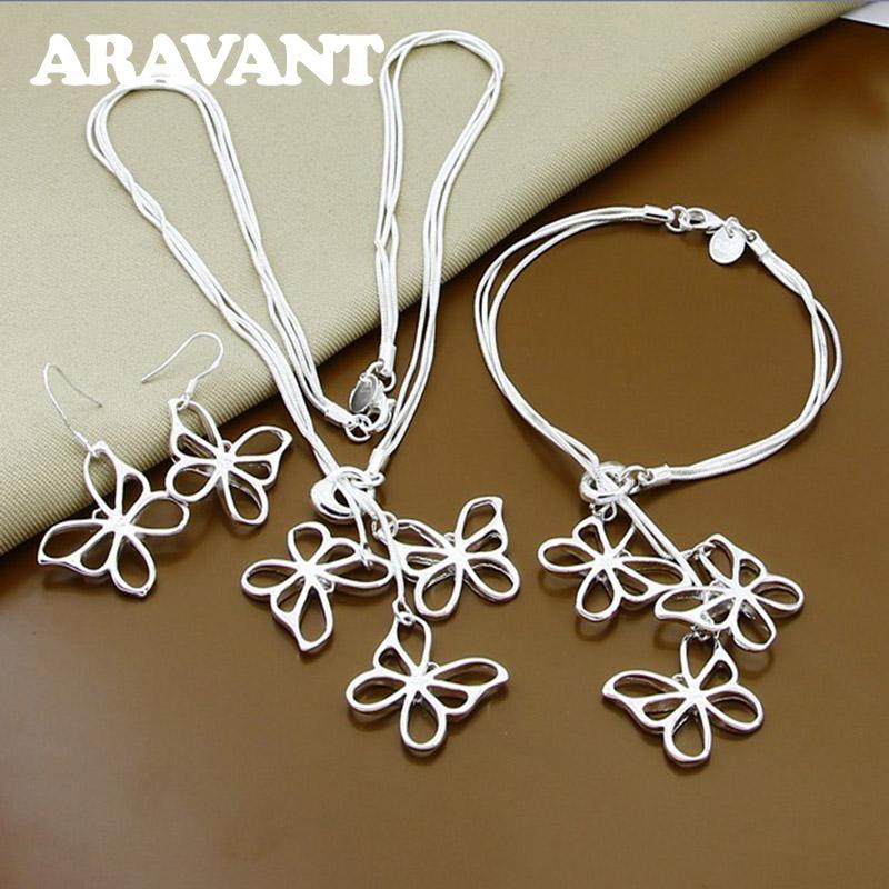 925 Argent Papillon Colliers Bracelet Boucles D'oreilles Pendantes Ensemble De Bijoux Pour Les Femmes Parti Bijoux