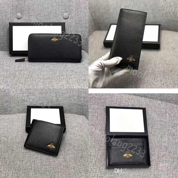 Männer Biene Qualität Designer Brieftasche Geldbörse Brieftaschen Männer Leder Lange Black Card Biene Kurzkredit Bühnenkarten Geldbörse Luxus High Inhaber Vwemb