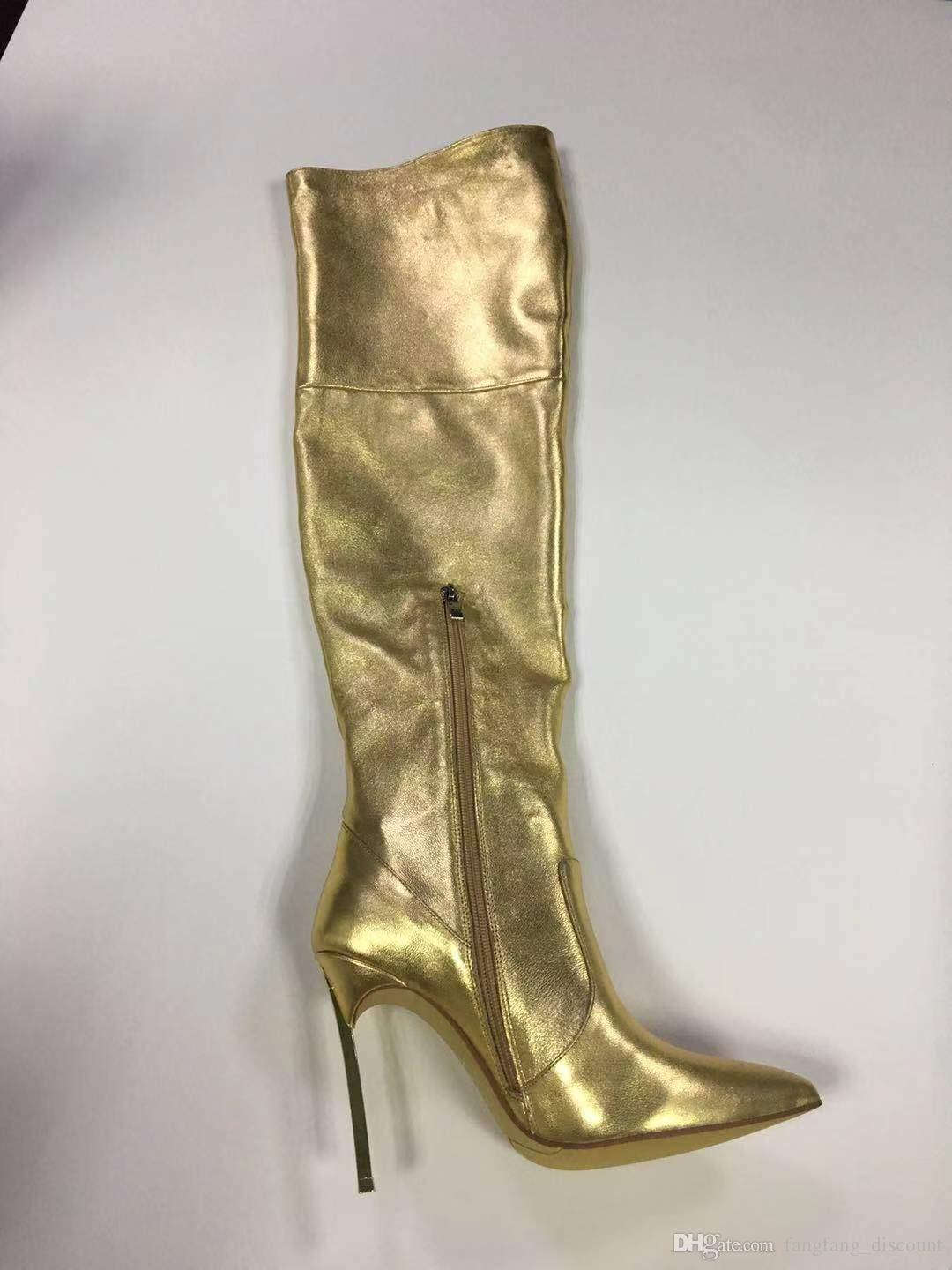 Early spring new gold sheepskin stiletto heel fashion all mathch women's fashion boots over the knee zipper boots