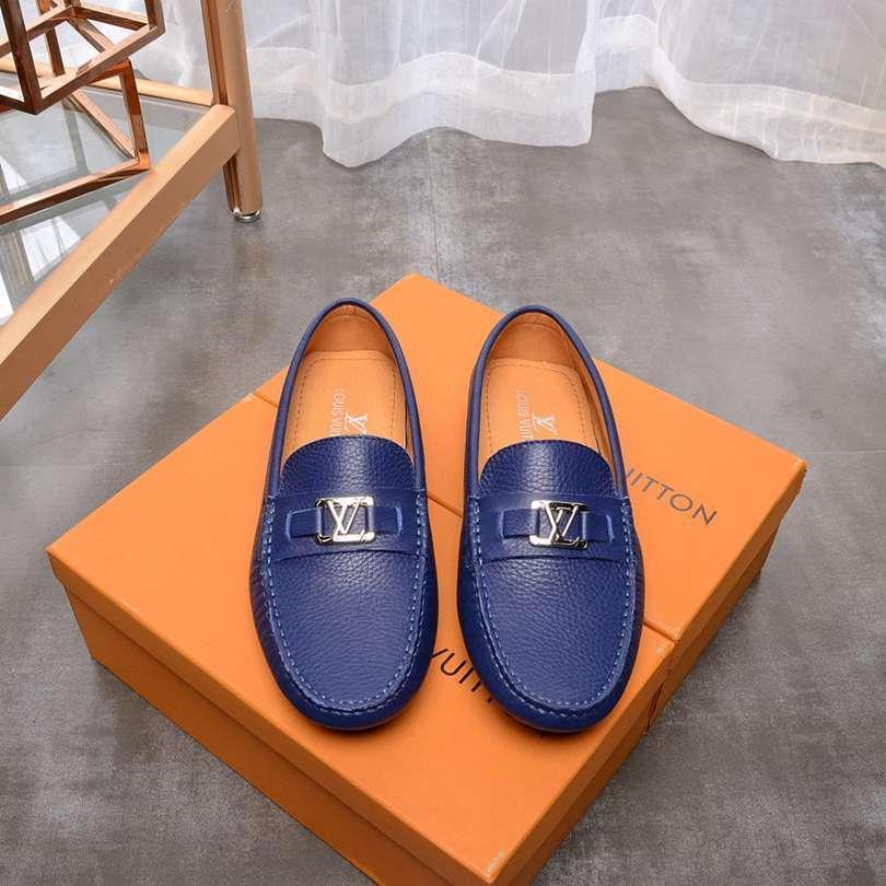 Erkek Deri Ayakkabı Doug Tembel Günlük Ayakkabılar Yumuşak Alt Sürücü Ayakkabı (mavi / siyah)