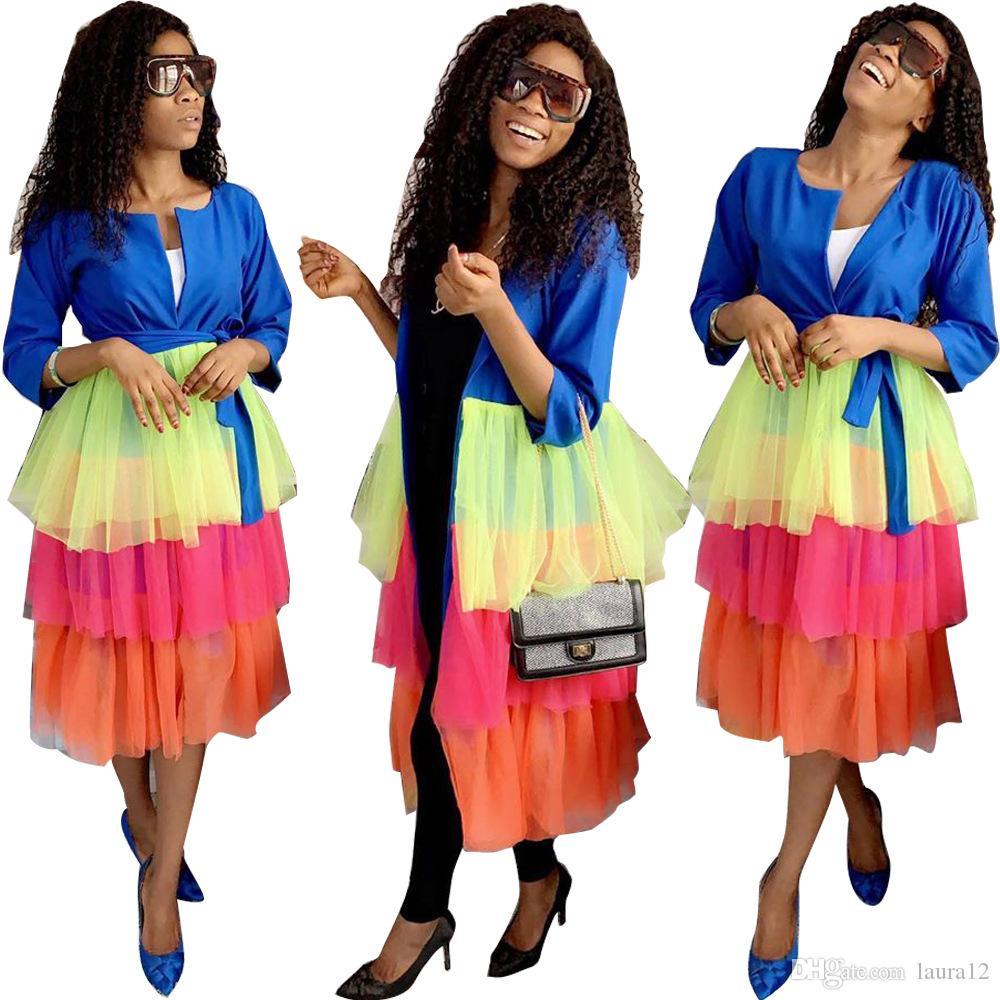 Newst Şeker Renkler Ruffles ile Çoklu Katmanlar Pachwork Kadınlar Uzun Palto Mesh Üç Çeyrek Kollu O Boyun Lady Ceketler Bahar