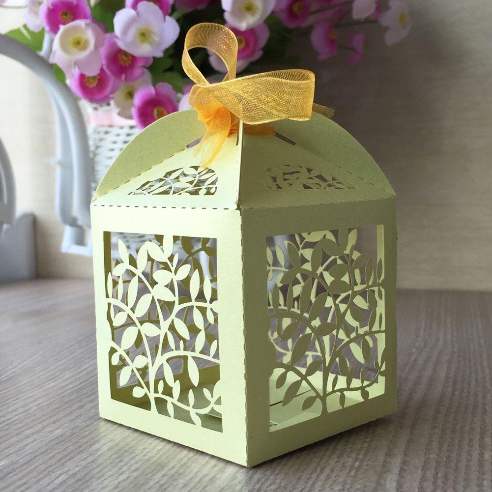Şube yaprak Lazer Kesim Şeker Çikolata Hediye Kutuları Kurdele ile Gelin Doğum Günü kutusu ülke düğün hediyelik eşya