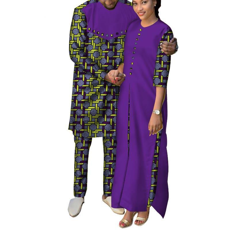 Roupas africanas Mulheres Ankara Imprimir Longos Vestidos de Camisa Dos Homens e Conjuntos de Calças Casais Amante Roupas Roupas de Design Africano WYQ146