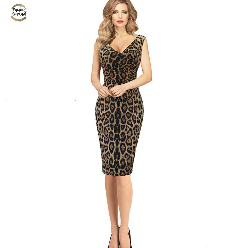 Kadınlar Yaz Moda Elbise Leopar İnce İnce Paketi Kalça Elbise Kolsuz V yaka Mini Seksi Elbise Vestido Curto tasarımcı kıyafetleri oldu